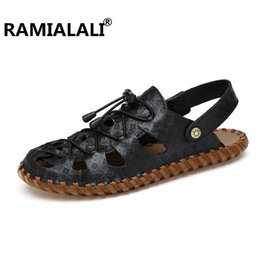 Wholesale Real Injection - Ramialali Men's Sandals 2018 New Fashion Summer Leisure Beach Men Shoes High Quality Real Leather Sandals Zapatos