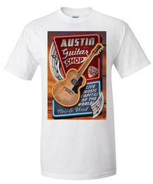 T Shirt Cool Design T Shirt Crew Neck breve Austin Texas Guitar Shop Vintage Sign Premium da segno texas fornitori