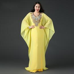 2019 chiffon kleid kaftan abaya Abaya Dubai Islamischer Kaftan Chiffon Kristall Arabische Abendkleider Lange Ärmel Perlen Abendkleider Party Kleider Nach Maß HY4212 günstig chiffon kleid kaftan abaya