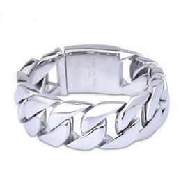 2019 grossistas pulseiras magnéticas para homens 20mm / 24mm / 26mm de largura do punk dos homens do motociclista de jóias de prata pesado aço inoxidável bling freio cubano ligação cadeia pulseira pulseira para homens