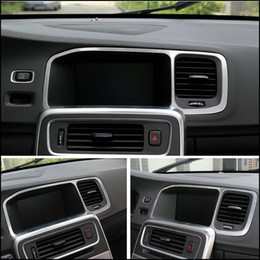 Wholesale Volvo Stickers - wholesale Car Styling special car console navigation decorative frame cover trim stainless steel strip 3D sticker for Volvo S60 V60