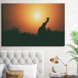 malerei bestellen Rabatt 1 Stücke Sonnenuntergang Giraffe HD Gedruckt Leinwand Ölgemälde Wandkunst Bild Für Wohnzimmer Home Decoration Kein Gestaltet