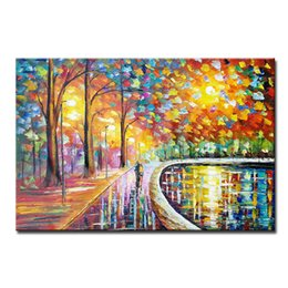 Wholesale large paintings for home - Large Handpainted Lover Rain Street Tree Lamp Landscape Oil Painting On Canvas Wall Art Wall Pictures For Living Room Home Decor