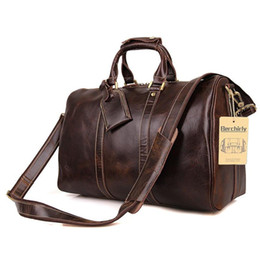 Wholesale Men Large Tote Leather - Vintage Crazy Horse Genuine Leather Travel bag Men Duffel Bag Luggage Travel Large Men Leather Duffle Weekend Tote Big