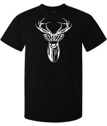 Ilustraciones de ciervos online-Tribal Indian Deer Spirit obras de arte elegante hombre mujer camiseta disponible negro Marca de manga corta