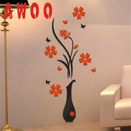 Casa del fiore 3d online-My House DIY Vaso Flower Tree Cristallo Arcylic 3D Wall Stickers Decal Home Decor Wallpaper giugno 14