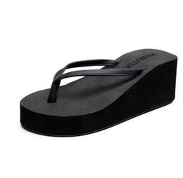 2017 Высокий каблук шлепанцы женский лето корейский мода толстый склон с сандалиями водонепроницаемый Тайвань пляжная обувь нескользящей шлепанцы шлепанцы от Поставщики корейские каблуки