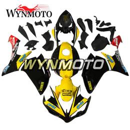 Kit de corpo de carenagem de alta qualidade on-line-Motocicletas de alta qualidade kit de carenagem completo para yamaha yzf1000 r1 yzf 1000 2007 2008 kits de corpo de plástico abs amarelo preto capota de carroçaria