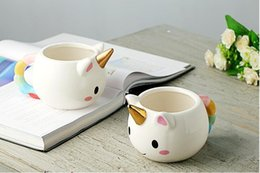 Wholesale Porcelain Horses - Cartoon Unicorn Mug 3D Ceramic Coffee Cup Children Girl Creative Cute Gift Wild Finding Magical Horse Cups Magichome Christmas c338