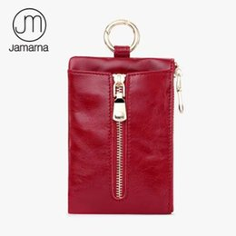 Wholesale wax prints fashion - Jamarna Unisex Key Wallet Genuine Leather Small Wallet For Women Men Card Holder Coin Change Purse Oil Wax Key Holder Red Black