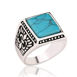 Wholesale Turquoise Ring Man Silver - Fashion Women Vintage Antique Silver Signet Ring Male Big Square Green Gem Ring Men Knuckle Finger Ring Ethnic Jewelry