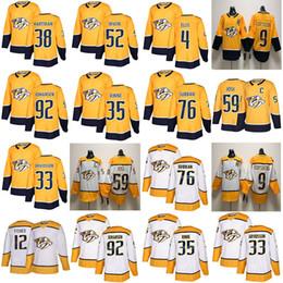 Nashville Predators # 59 Roman Josi 76 P. K. Subban 92 Ryan Johansen 9 Filip Forsberg 2018 Amarelo Lar Branco Costurado Hockey Jerseys S-60 de