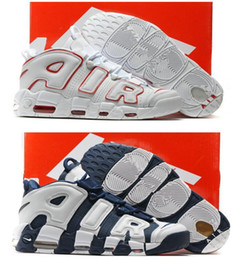 wholesale dealer 26485 5aa0e Air Mehr Uptempo Damen Herren Basketball Schuhe, Hohe Qualität Tri-Color  Scottie Pippen PE Dreifach Weiß Athletisch Sportschuhe
