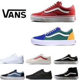 size 40 e5a60 0ba80 2019 44 zapatos vans shoes Clásico viejo skool rojo azul blanco negro hombres  mujeres zapatillas de