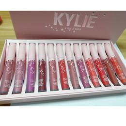 Wholesale Lip Gloss Dropshipping - 2018 Kylie Cosmetics Vacation Edition Lipgloss Kit Kylie Jenner 20 Pink Birthday Lipgloss 12pcs Matte lipsticks Lip Gloss Set Dropshipping