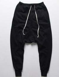 Wholesale Men S Drop Crotch Pants - Fashion Drop Low Crotch Pants Joggers Rick Harem Pants Hip Hop Man Swag Clothes Black Kanye West Black Men Owens Clothing Styles