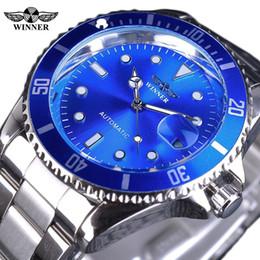 Wholesale design mens watches - Winner AAA Mens Watches Luxury Brand Stainless Steel Blue Ocean Bezel Design Luminous Wristwatches Casual Calendar Mechanical Business Watch