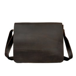 Wholesale imports europe - Men's Shoulder Bags High Grade Europe Imported Genuine Cow Leather Satchels vintage 14 Inches PC Crossbody Bags