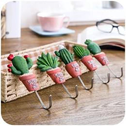 2019 großer stammbaum fotorahmen Kawaii dekorative Haken Harz Kaktus Haken zum Aufhängen Schlüssel Handtuch und Kleidung nach Hause Duschbad Dekoration Klebstoff Wandaufkleber PWH