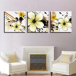 arte de lona de flor amarela Desconto Canvas HD Imprime Cartazes Para Sala de estar Arte Da Parede Petal Pictures Quadro 3 Peças Abstrato Amarelo Flores Pinturas Home Decor
