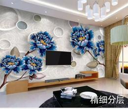 Benutzerdefinierte Retai High-End-Atmosphäre Mode Schöne Europäische Blue Gold Pfingstrose 3D TV Hintergrund Wandmalerei von Fabrikanten