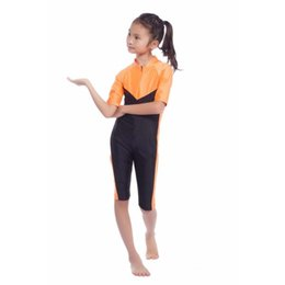 Wholesale islamic s - New Kids Girls Modest Swimwear Swimsuit Muslim Islamic One-piece Swimsuit S-XL