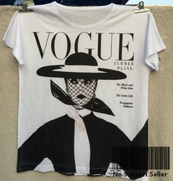 Wholesale Idea Style - Track Ship+Vintage Retro Good Feeling T-shirt Top Tee Vogue Black and White Idea Hat Old Style Woman Fashion 0293