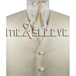 Wholesale Tuxedo Ascot Tie - hot sale mens tuxedo sleeveless ivory waistcoat(vest+ascot tie+cufflinks+handkerchief)