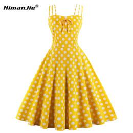 2019 giostre gialle Summer Women Hepburn Abiti giallo Retro Cotton Robe Abiti vintage anni '50 anni '60 Rockabilly Pin Up Swing a pois sconti giostre gialle