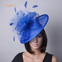 Wholesale Big Tiaras - Royal blue red hot pink Ladies hat Big sinamay fascinator with feathers&veiling for weddings,races,party,Derby Kentucky church