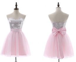 Pembe Parti elbiseler a-line Kısa Kollu Mini Tül Sequins Zarif Backless Yay Kokteyl Elbiseleri Artı Boyutu Gelinlik Modelleri HY378 cheap pink tulle sleeves prom dress nereden pembe tül kollu balo elbisesi tedarikçiler