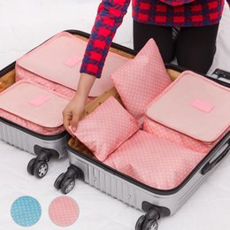 Wholesale Branded Bedding Sets - Wholesale- 6pcs set New 2017 Storage Bags Brand Travelling Suitcase Storage Bags Sets High Quality nylon+polyester Clothes&shoes Organizer