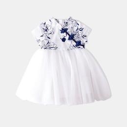 Costumes de criança on-line-Meninas vestidos formais Crianças Tang Traje Menina Azul E Branco Vestido De Porcelana Na Alfândega Nacional Mulher Preciosa Princesa Saia tamanho 90-130