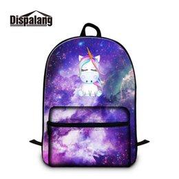 fca4f9bf8f0d Dispalang Galaxy ноутбук рюкзак для девочек-подростков мальчиков Единорог  печати школьный рюкзак дети школьные сумки для Collegbag