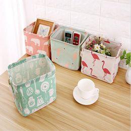 Wholesale Desktop Drawers - Foldable Cotton Grocery Storage Bag Desktop Drawer Clothes Snacks Organizer Basket with Handles 6 Styles OOA4273