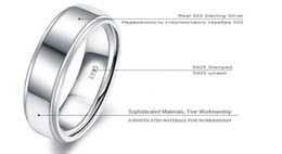 Wholesale Solid Silver 925 Man Rings - Peacock Star High Polished Men's Solid Sterling Solid 925 Silver Wedding Band Ring Jewelry CFR8056II-36