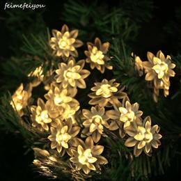 Luzes led lotus outdoor on-line-Venda Por Atacado mais novo bateria remoto lótus luzes da corda 40/80/100led led corda de luz de fadas das flores para interior e exterior