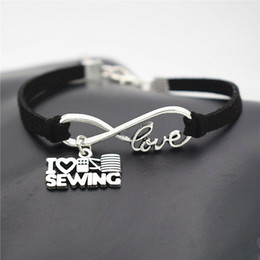 Wholesale sewing machine silver charms - AFSHOR New Women's Fashion Antique Silver Infinity Love Charm I Love Sewing Machine Pendant Leather Bracelets Unique Party Gift Jewelry