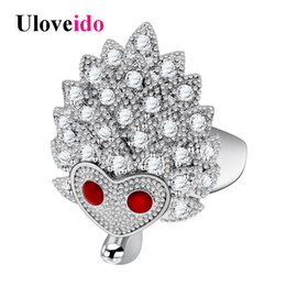 Wholesale Red Rings Jewellery - whole saleUloveido Hedgehog Rings for Women Cubic Zirconia Animal Ring Female Decorating Fashion Jewellery Gifts for the New Year 20% Y347
