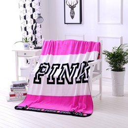 Wholesale Wholesale Pink Beach Towels - PINK Blanket Flannel Blankets Soft Coral Beach Towel Blankets Air Conditioning Rugs Comfortable Carpet Throw Blankets 130*160cm hot HHA2