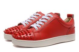 Wholesale custom sheepskin - New sheepskin toe nails red bottom sports shoes, men and women brand custom low to help casual shoes 35-46 free shipping