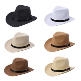 wholesale leather cowboy belts Coupons - New Summer Solid Straw Hat with leather Belt Designer Cowboy Panama Hat Cap Summer Sun Beach Caps Fisherman Jazz