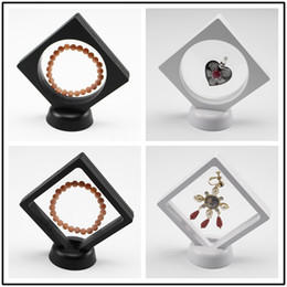 Wholesale velvet case jewelry holder - New 10.8*10.8cm Black White Floating Suspended Display Case Coins Gems Artefacts Stand Holder Jewelry Box for Rings