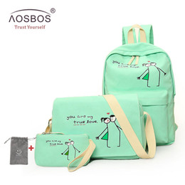 Wholesale Cute Bags For Girls Travel - Hot 4pcs set Luminous Canvas Girls Backpacks High Quality Teenager Cute School Bag Satchel Female Travel Rucksacks for Students