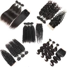 Wholesale wavy curly - Brazilian Virgin Hair Bundles with Closure Body Wave Deep Wave Kinky Curly Wet and Wavy Hair Weaves Closure 3Bundles Human Hair Lace Closure