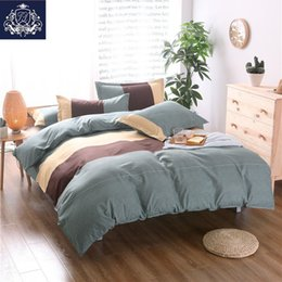 Wholesale Pink Striped Bedding - 2017 Europe Style Plaid Blue Striped Bedspread Queen King Size Cotton Blend Bed Linen China Striped Bedding Set