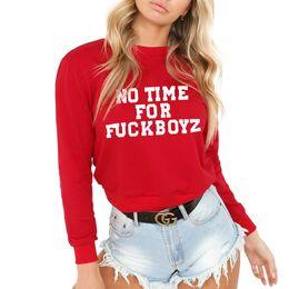 Wholesale womens red sweatshirt - New Womens Red Black Pullovers O-Neck Casual Gym Streetwear Top Warm Letter Sweatshirt