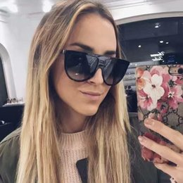 shadow shields Promo Codes - 2017 Brand Designer Women Retro Flat Top Sunglasses Vintage Acetate Shaded Lens Thin Shadow Glasses Men Oculos De Sol 744M