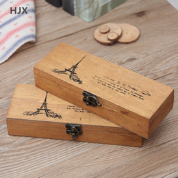 Wholesale wooden pencil boxes wholesale - retro wooden Stationery storage boxes Office storage case pencil box desktop organizer Jewelry box