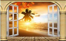 Pintura de playa blanca online-Custom Wall Mural Modern Art Painting Fondo de pantalla mural de alta calidad Original columna romana ventana blanca puesta de sol playa vista al mar fondo 3D wa